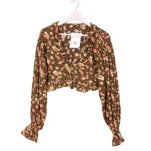 Free People secret garden floral crop blouse S